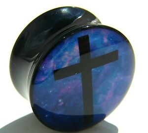 Black-Acrylic-Cross-Saddle-Ear-Tunnel-Plug-4mm-to-24mm