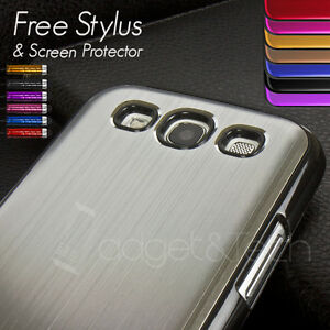 BRUSHED-ALUMINIUM-HARD-BACK-CASE-SCREEN-PROTECTOR-FOR-SAMSUNG-GALAXY-S3-I9300