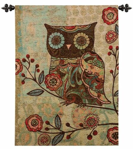 WHIMSICAL TREE OWL FLORAL BLUE GREEN TEAL ART TAPESTRY WALL HANGING W/ FREE ROD