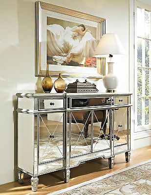 Hollywood Regency Mirrored Console Cabinet Dresser Table Bedroom Furniture  Glam
