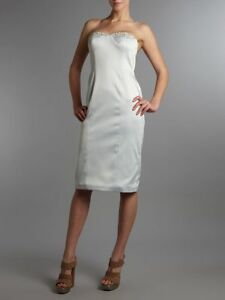 PIED-A-TERRE-LUXURY-PALE-SILVER-EMBELLISHED-STRAPLESS-DRESS-RETAIL-195-SIZE-10