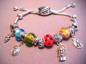 MARY-Bijou-SLider-Charm-Silvertone-Bracelet-Our-Lady-several-Faces-Adjust-Size