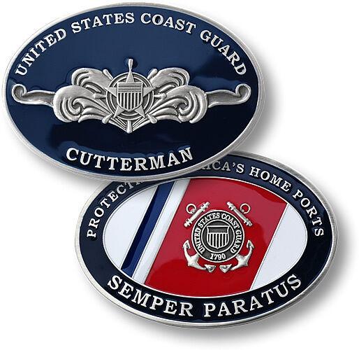 COAST GUARD USCG CUTTERMAN SILVER COLOR CHALLENGE COIN