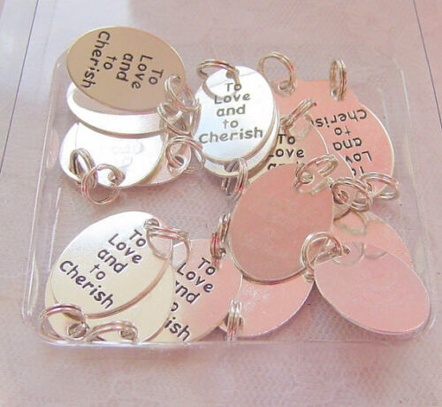 20pk To Love and To Cherish Wedding Charms Favour Bag Gift Craft Diy Jewellery