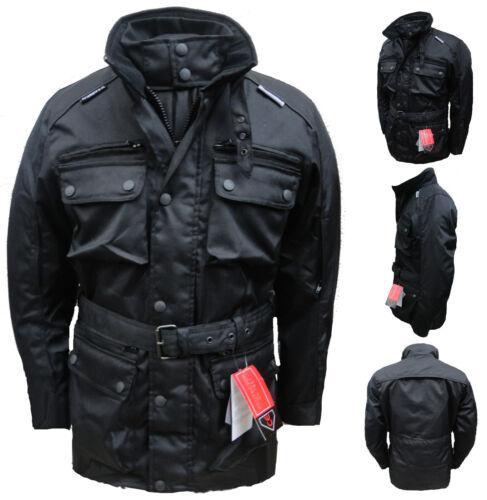 Black CE Armoured Motor Cycle Bike Wind/Waterproof/Thermal/Vented Cordura Jacket