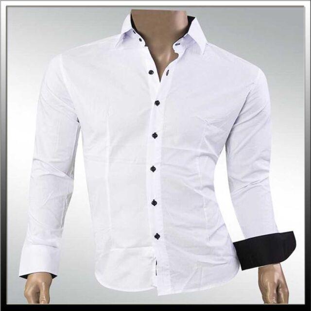 Herren Jeel Hemd Hemden Business Freizeit Anzug Büro Fein Hochzeit Tailliert NEU