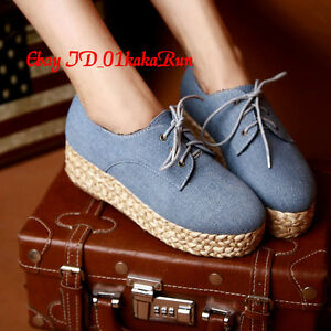 Womens-Shoes-Blue-Canvas-Wedge-Med-Heels-Platform-Sneakers-Pantshoes-US-5-US-9