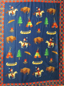 Cowboy western tee pee canoe buffalo fleece fabric panel for Solar system fleece fabric