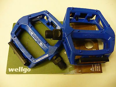 WELGO BMX/MOUNTAIN BIKE/CYCLE 9/16 LIGHT BLUE ALLOY PLATFORM PEDALS