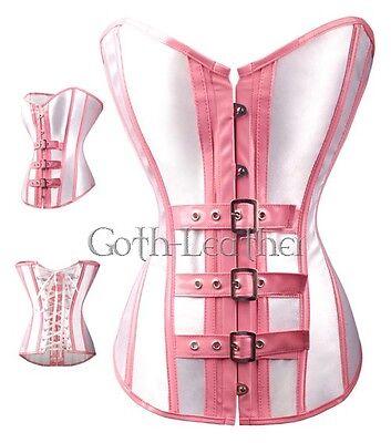 Sexy PVC Buckles Size S-6XL CORSET Punk White/Pink  Partywear A2919_white