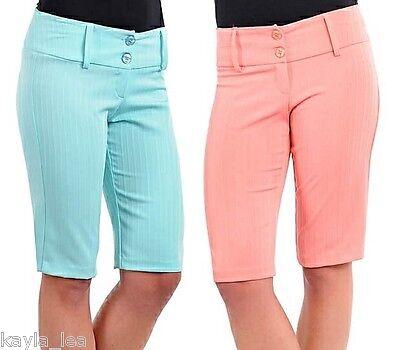 Aqua or Peach Bermuda/Capri/Cropped Shorts Pants ~S/M/L~