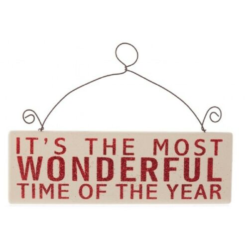 ITS THE MOST WONDERFUL TIME OF THE YEAR PLAQUE SIGN HANGER CHRISTMAS DECORATIONS