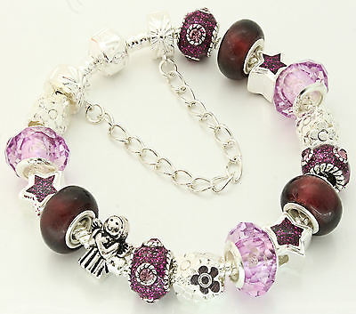 Ladies PERSONALISED Charm Bracelet Sparkle Beads Ideal MOTHERS DAY BIRTHDAY Gift