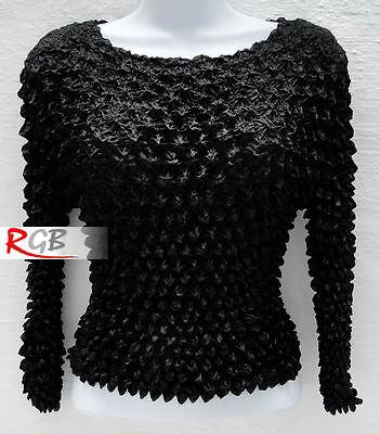 Black Stretchy Long Sleeve Popcorn Top Blouse Shirt
