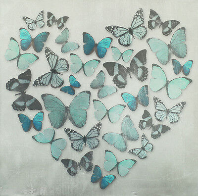 Teal Blue Metallic Butterfly Love Heart Canvas Wall Art Picture 57 x 57cm
