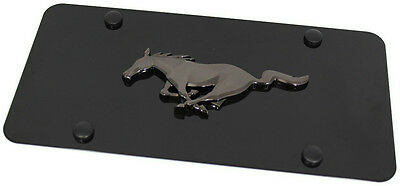 Black Pearl Ford Mustang Emblem Logo Front License Plate Frame Black Steel