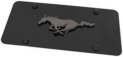 Black Pearl Ford Mustang Emblem Logo Front License Plate Frame Black Steel