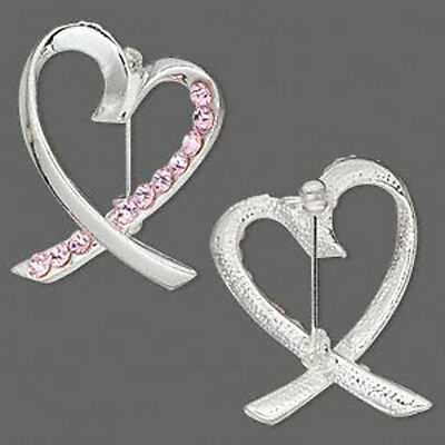 Pink Ribbon Brooch Pin Breast Cancer Awareness Silver Heart Rhinestones