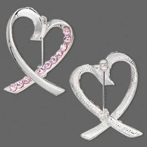 Pink Ribbon Brooch Pin Breast Cancer Awareness Silver Heart Rhinestones