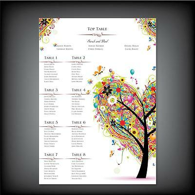 LUXURY Personalised Wedding Seating Table Plan with names A0 / A1 / A2 / A3 / A4
