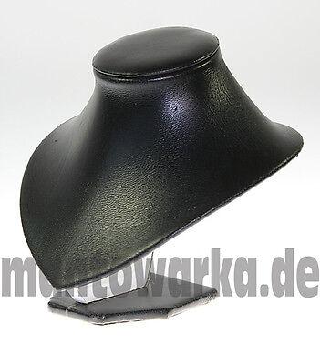 Schmuckbüste mit Standsockel in Schwarz Lederimitat Kettenständer Büste Samt