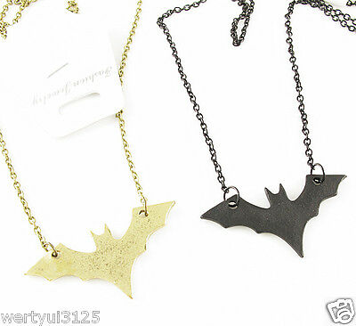 Chic Halloween Flying Vampire bat Batman Pendant Metal Chain Necklace kj1132