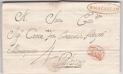 PREFILATELICA CON ANNULLO MARSALA- con testo- 29 NOV.1824