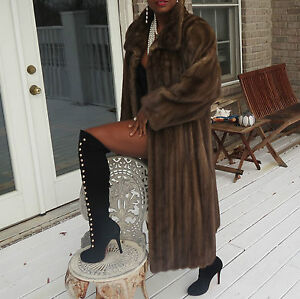 Mint Full Length Designer Lunaraine brown Mink Fur Coat Jacket