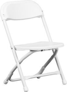 Lot of 10 Kids Size White Plastic Seat & Back Steel Frame Folding School Chairs