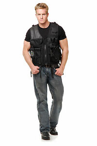 black SWAT TEAM VEST adult mens commando halloween costume ONE ...
