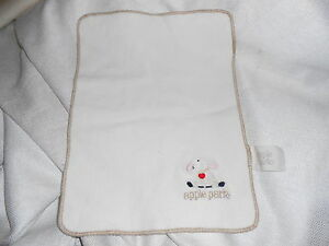 "apple PARK CREAM TAN RED HEART SHEEP LAMB BLANKET LOVEY PLUSH 9X 12"" BABY"