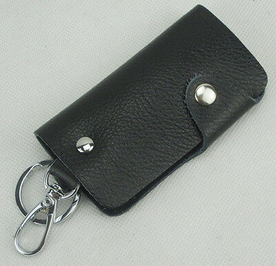 Unisex Men's leather Car Key Case bag Holder keychain Black dark brown