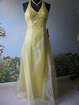 RENE MOISELLE Yellow Formal Prom Pageant Full Length Beaded Dress Size 10 New