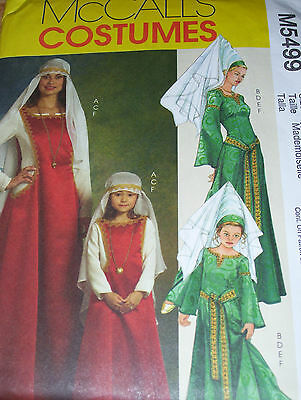McCALL'S #5499 - LADIES & GIRLS RENAISSANCE PRINCESS GOWN & HAT/VEIL PATTERN uc