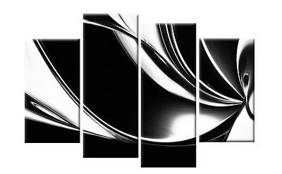 LARGE BLACK WHITE ABSTRACT CANVAS PICTURES WALL ART SPLIT MULTI 4 PANEL 40""