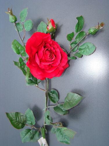 Rosenzweig 79cm  Kunstblumen Seidenblumen Blüte+3 Knospen