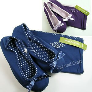 Palmers-Lady-Slippers-Shoes-Ballet-Style-Bow-Blue-Purple-w-Drawstring-Pouch-EUR