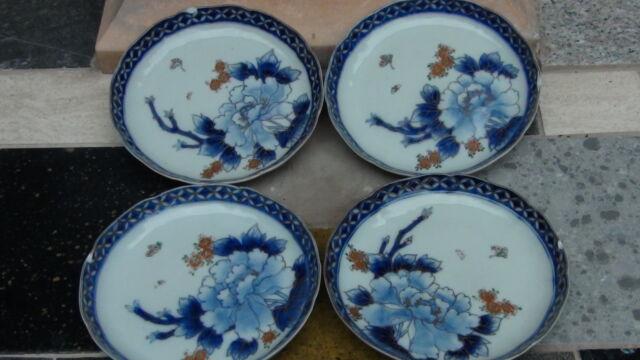 SET OF 4 ANTIQUE RARE JAPANESE ARITA IMARI PORCELAIN PLATES BLUE FLOWERS