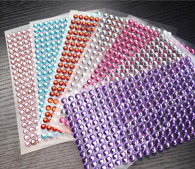 Cute Home Car Decoration Sticker Decal Diamond Crystal DIY 6mm Rhinestone Sheet