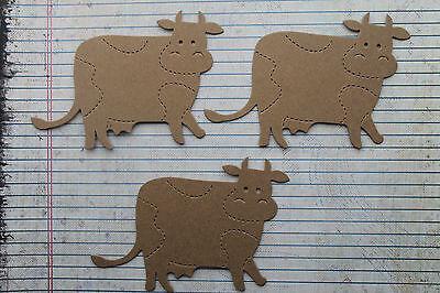 "3 Bare chipboard Cow Bovine diecuts 4 1/2"" w  x 3 3/8"" h"