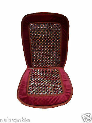 Natural Wood Bead Seat Cover Seat Cushion Cool Massage Car Office - RED