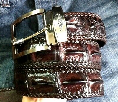 Nice Brown!! AUTH CROCODILE HORNBACK SKIN STITCH EDGE  BIKER BELT Sz availabl