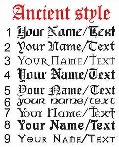 CUSTOM-Personalised-Your-Name-Text-lettering-ANCIENT-STYLE-decal-sticker-vinyl