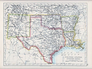 1912 MAP ~ UNITED STATES ~ SOUTH WEST CENTRAL TEXAS NEW MEXICO OKLAHOMA