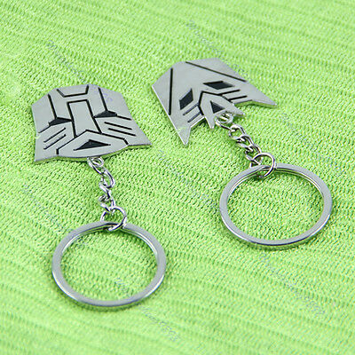 1 Pair Transformers Autobot Decepticon Symbol Pendant Key Chain Keyring Keyfob
