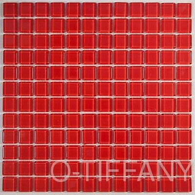 1 SQFT Glass Mosaic Tiles on Mesh Mount Scarlet AR030C
