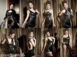 CHRISTMAS-Punk-Wet-Look-Black-Leather-Look-Goth-Punk-Dance-Clubwear-Dresses