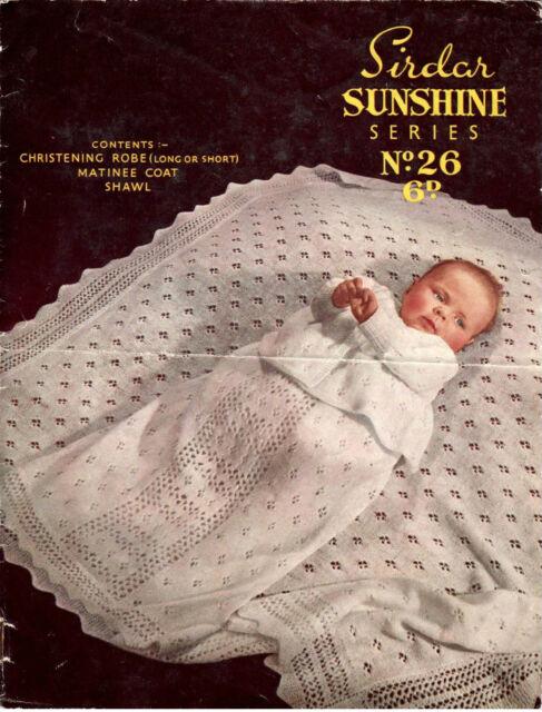 Knitting pattern, Baby christening shawl - dress & matinee coat- 2ply wool