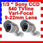 2 X Sony Ccd 540tvline Zoom Lens Cctv Security Camera