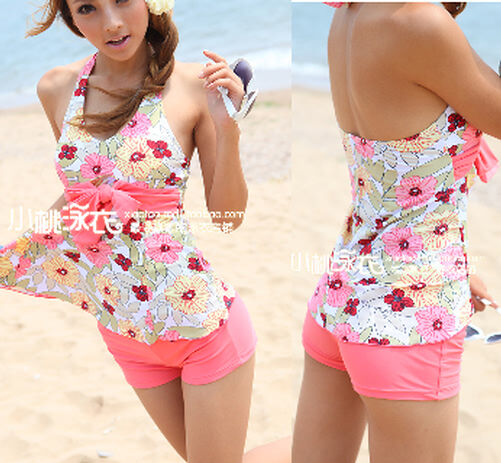 2PCS Pink Floral Flower Halter Neck Padded Tankini Top Swimsuit Swimwear Set